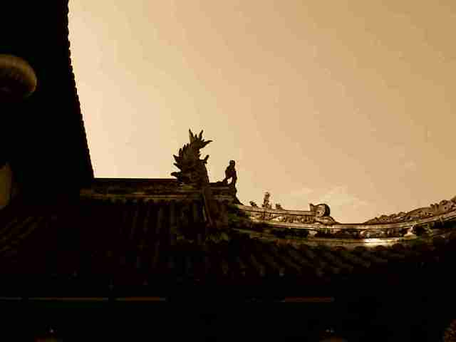 The roof of the temple.  真的好漂亮。  Too beautiful.
